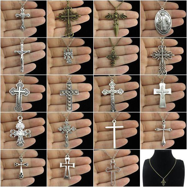 Bütün saleGLOWCAT Q14A94 Gümüş Bronz Alaşım Dini Kafatası Çiçek İsa Haç Kolye Kısa Kolye Takı Kadınlar 18 inç