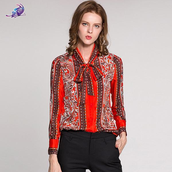 Hohe Qualität Marke Designer Runway Silk Shirt 2018 Neue Frauen Langarm Bogen Kragen Red Vintage Floral gedruckt Tops Bluse