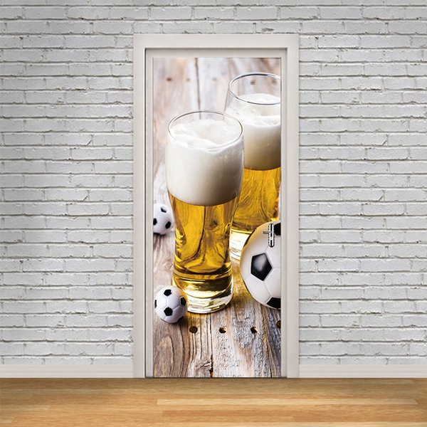 Grosshandel Heisse Verkaufe Neue Tur Aufkleber Wein Und Fussball Tapete Pvc Personalisierte Poster Kunst Aufkleber Fussball Sport Wandbild Jungen