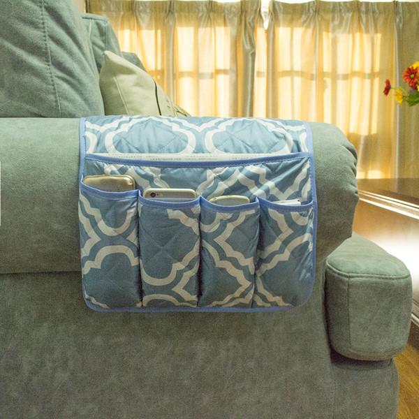 Folding Handmade Pongee Sofa Couch Chair Organizer Hanging Storage Bag Magazine TV Remote Control Armrest Organizer