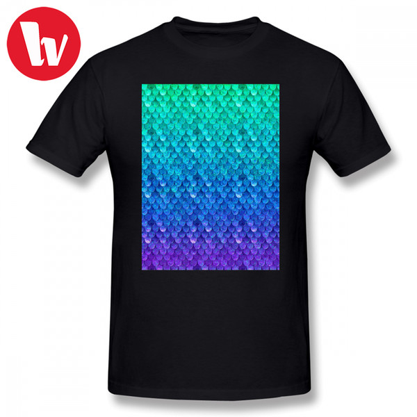 Sublimation T Shirt Mermaid Scales T-shirt Men Print Plus Size Male Cotton Tee Shirt Summer Men's Short Sleeve Casual T-shirts