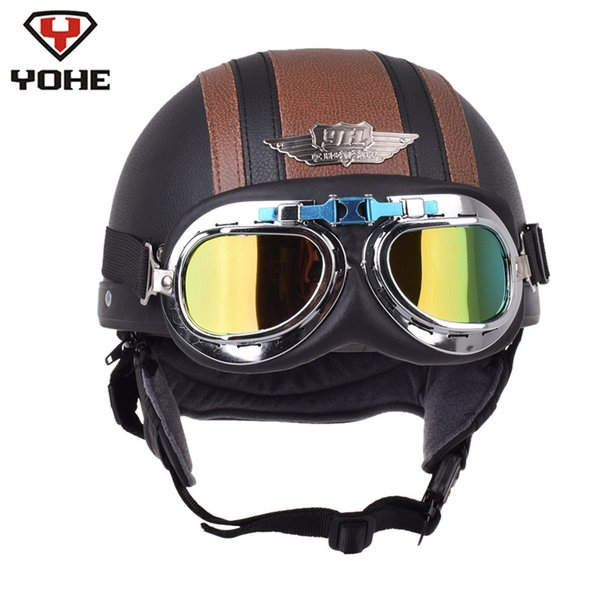 YOHE Motorcycle Helmet Leather  Pilot Chopper Half Helmets Casque Casco Moto Capacetes De Motociclista Vespa Vintage