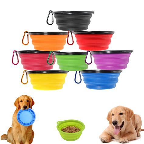 Travel Collapsible Pet Dog Cat Feeding Bowl Water Dish Feeder Silicone Foldable 7 Colors To Choose