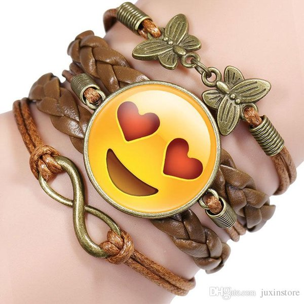 best selling 2017 Funny Emoji New fashion jewelry Multilayer time gem bracelet children teenager Leather cord bracelet