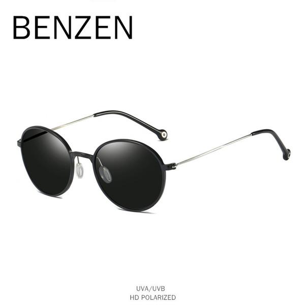 Venta al por mayor Vintage gafas de sol redondas mujeres polarizadas mujer gafas de sol para conducir marco de aleación para mujer gafas negro con estuche 6581