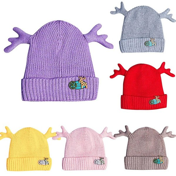 Baby Knitted Christmas Dear Antler Hats Child Kids Warm Winter Crochet Cap Boy Girls Double Thick Warm Caps Hats