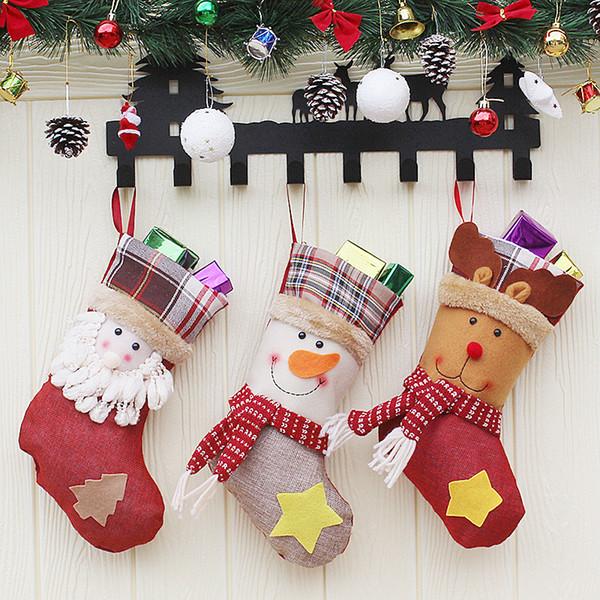 Mini Christmas Stockings Gift Bag Cartoon Santa Claus Snowman Elk Socks Kids Candy Bag Socks Xmas Tree Hanging Ornament Decoration