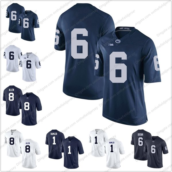 Maglie di Pennsylvania NCAA College Football Jerseys di Penn State Nittany # 1 K.J. Hamler 6 Cam Brown 8 Mark Allen Men's Youths 'Donna blu scuro bianco S-3XL