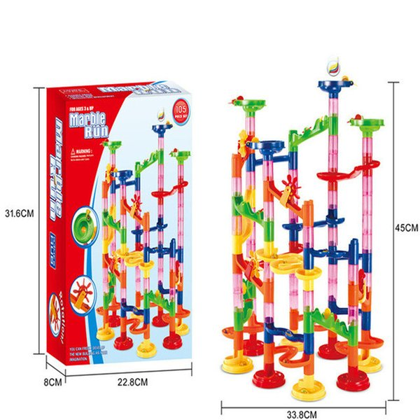 6 Styles 105PCS DIY Construction Marble Race Run Maze Balls Track Building Blocks Children Gift For Baby Toy Educational