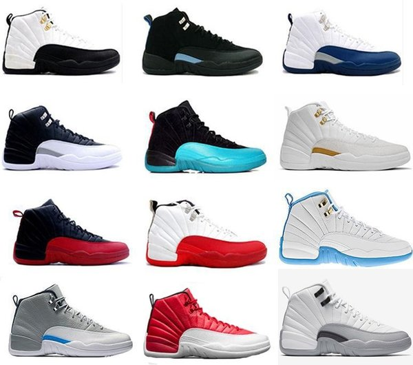 2018 Cheap 12 Bordeaux Dark Grey wool basketball shoes white Flu game UNC Gym red taxi gamma french blue Suede sneaker US5.5-13