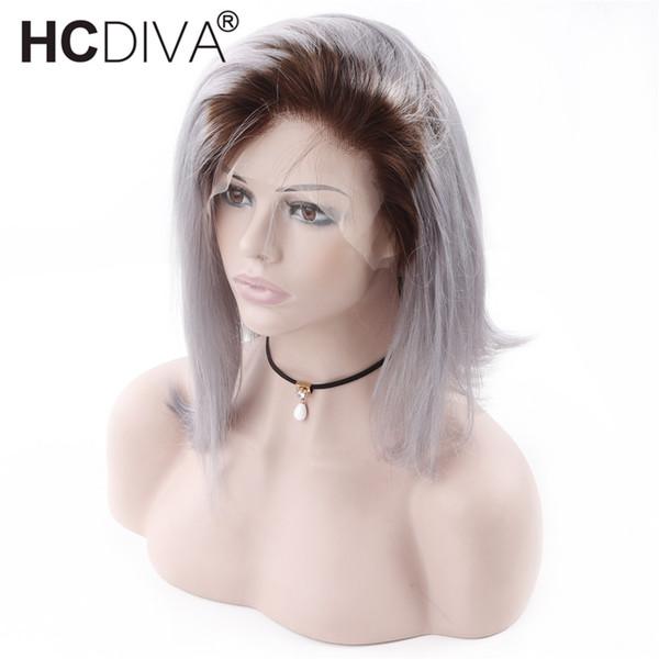 Ombre T1B / Grey Bob Perücken 13X4 Spitzefront Menschliches Haar Perücken für Schwarze Frauen Peruanische Gerade 100% Echthaar Kurze Bob Perücken Silbergrau