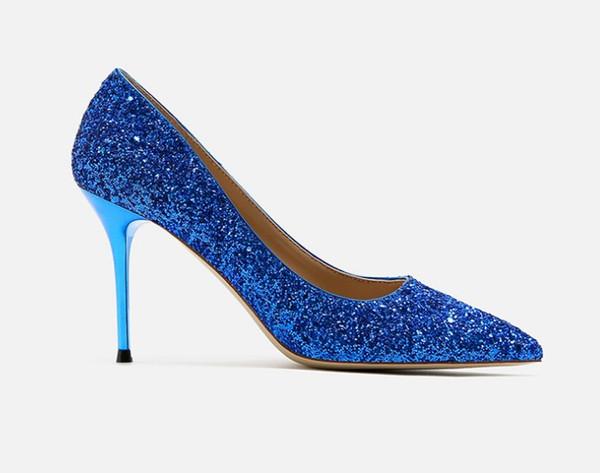 Zapatos de vestir de las mujeres de los zapatos de vestir de las mujeres de los tacones altos del color brillante del brillo múltiple del brillo deslumbrante del calzado de tacón alto para las mujeres
