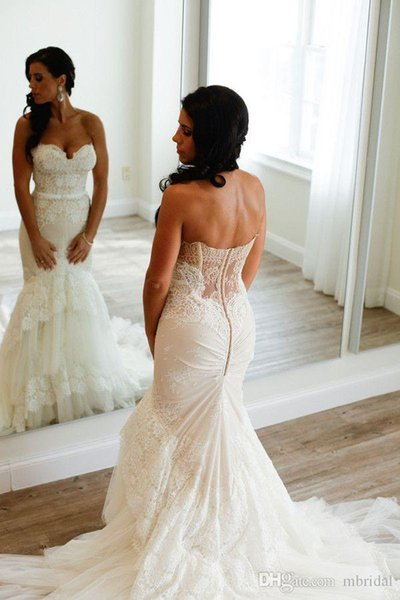 Sexy Lace Mermaid Wedding Dresses Sweetheart Sleeveless Sweep Strain Tires Backless Wedding Gown Bridal Dresses Custom Made Plus Size
