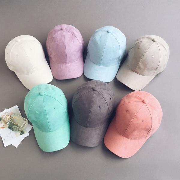 Winter unisex solid color Suede baseball cap hats for men women Plain Candy color Suede hip hop snapback caps casquette gorras