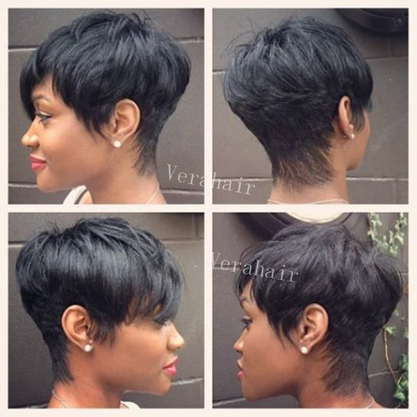 Hot Sale Celebrity Human Real Hair Short Cut Wigs Cheap Short Human Natural Peruvian Hair Glueless Wig For Black Women