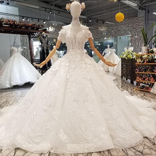 Tassel Alta Neck Vestido de Casamento Branco Além de Saia Com Ombro Frisado Train Petal Flores Apliques de Casamento Vestidos de 2019 Mais Novo projeto