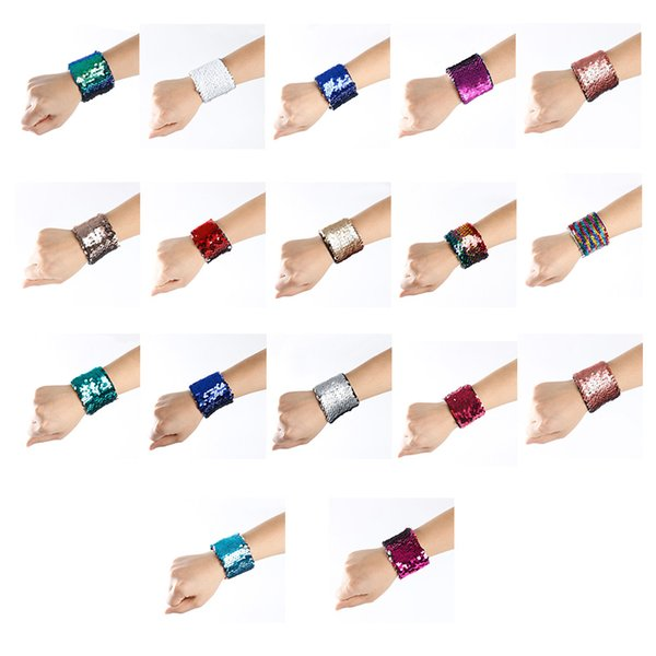 best selling Fashion Girl Bracelets DIY Teenager Kids Sequin Mermaid Wristband Stress Reliever Jewelry Custom Personalized Novelty Design Double Sequin