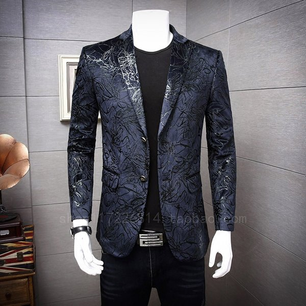 The new flower suit men all-match velveteen small suit dress male British personality fashion leisure coat in autumn