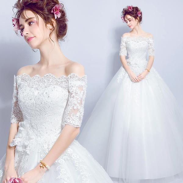 Off Shoulder Wedding Dresses with Lace Appliques 2019 Half Sleeves Wedding Gowns Floor Length Bridal Gown Ship out in 5 days