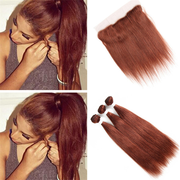 Indian Dark Auburn Virgin Hair Bundles Deals with Frontal Lace Closure Silky Straight Color 33 Copper Red Human Hair Weave with Full Frontal
