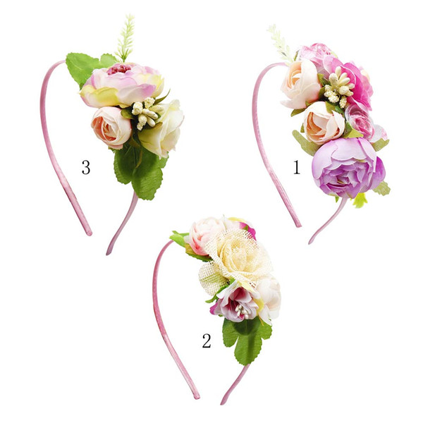 Wedding Flower Crown Hairband Floral Head Wreath ELegant Hairband For Kid Hair Hoop Headdress Hair Accessories Princess Photography Props