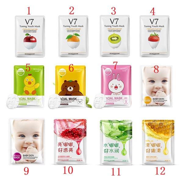 Hot Sale BIOAQUA 12 kinds Squeeze Mask Sheet Moisturising Face Skin Treatment Oil-control Facial Mask Peels Skin Care Pilate Wholesale