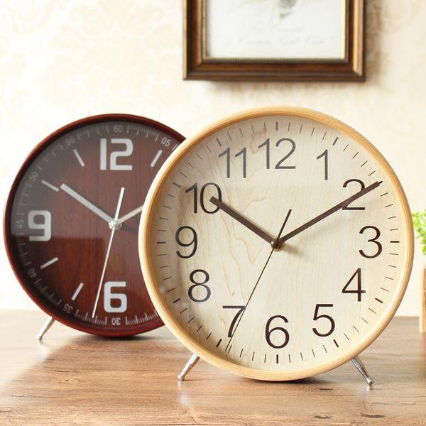 Meijswxj Wood Desktop Clock Saat Reloj Bedside Bracket Clock Relogio Reloj despertador Table Clocks Masa saati Relogio de mesa