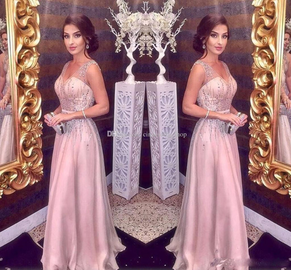 Sexy Crystal Beaded A Line Evening Dresses Sequin Beading Elegant Blush Pink Long Prom DResses cheap
