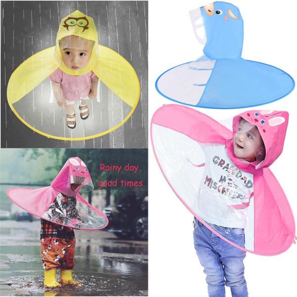 top popular Offer price raincoat plastic Foldable Cute Animal Rain Coat UFO Children Umbrella Hat Magical Hands Raincoat DROP SHIPPING 2019