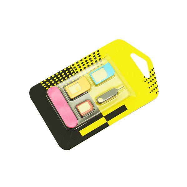 Etmakit 5 em 1 adaptadores de cartão nano sim + regular micro sim + padrão sim card tools para iphone 4 4s 5 5c 5s 6 6 s caixa de varejo