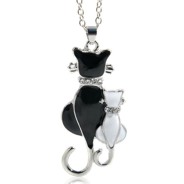 schwarz und weiß Double Kitty Katze Anhänger Halskette Mode Frauen Charming Alloy Kette Halskette Pullover Halskette für Mädchen