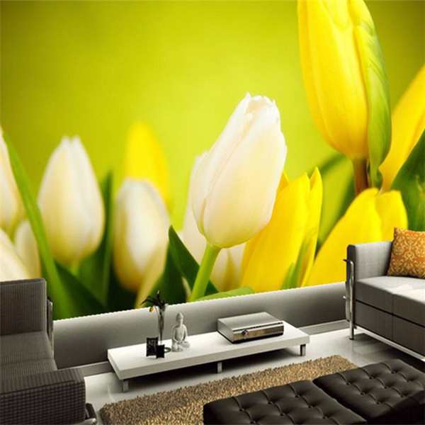 3D Wallpaper Beautiful Flowers Yellow Tulips Photo Murals Living Room Dining Room Modern Simple Decor Wall Painting Papel Mural