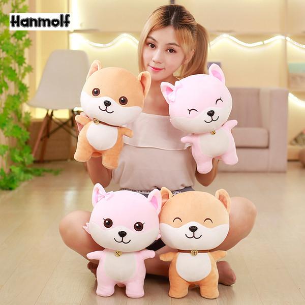 Shiba Inu Dog Plush Toy Stuffed Soft Doggy Animals Doll Pink/Brown Huggable Kids Birthday Gift 25/35cm