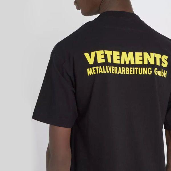 18ss vetements amarelo logotipo impresso tee vintage cor sólida mangas curtas homens mulheres verão casual hip hop street skate t-shirt HFYMTX167