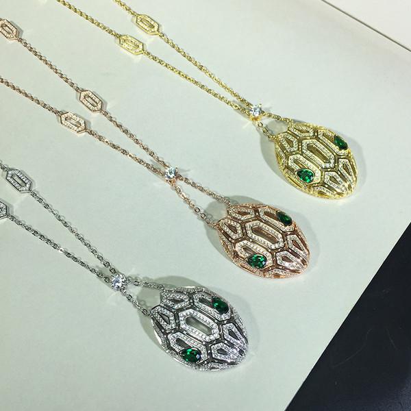 Joyería de lujo para las mujeres cabeza de serpiente collares pendientes lleno de oro chapado en oro collar de joyería de la boda cadenas