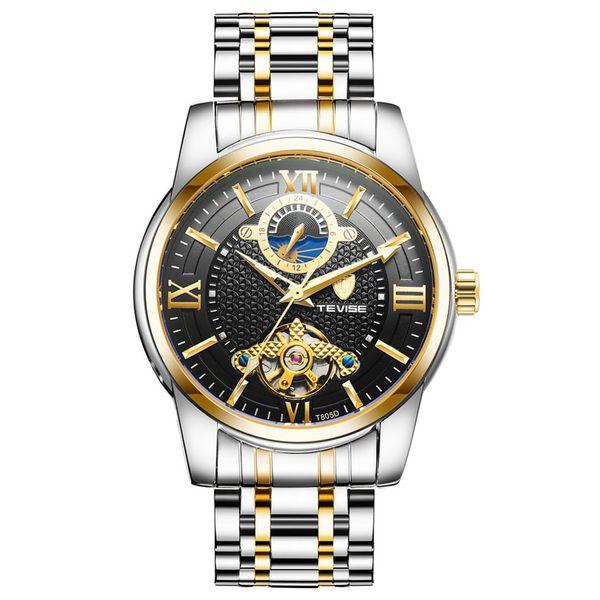 Tevise Luxury Business Watch Männer Mondphase Edelstahl Automatische Mechanische Uhr 24 Stunden Uhr