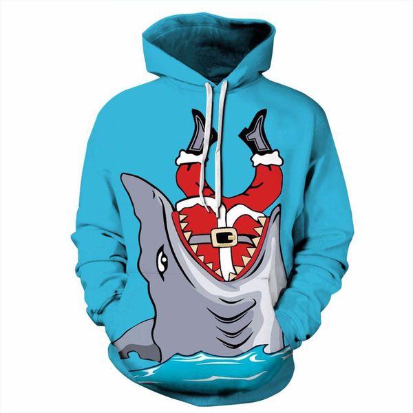 2017 3D Hoodies Men Hooded Sweatshirts Big Shark 3D Print Casual Pullover Funny Streetwear Tops Christmas Autumn Regular Hipster