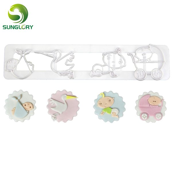 Baby Cookie Cutter Baby Stroller Cupcake Mold Fondant Adorable Set Cookie Mold Cake Decor Cutting Dies Baking Tools