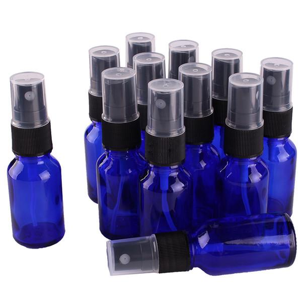 12pcs 15 ml botella de aerosol de vidrio azul cobalto w / negro rociador de niebla fina botellas de aceite esencial envases cosméticos vacíos