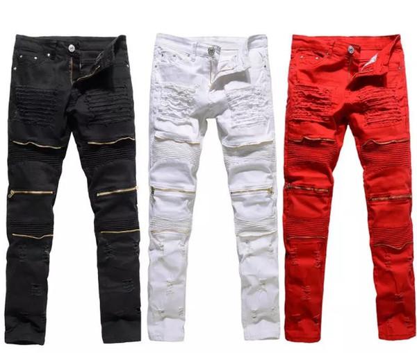 Clásico delgado para hombre Jeans Ropa de hombre Ajuste recto Biker Ripper Cremallera pantalones largos de hombre Pantalones casuales tamaño 36 34 32