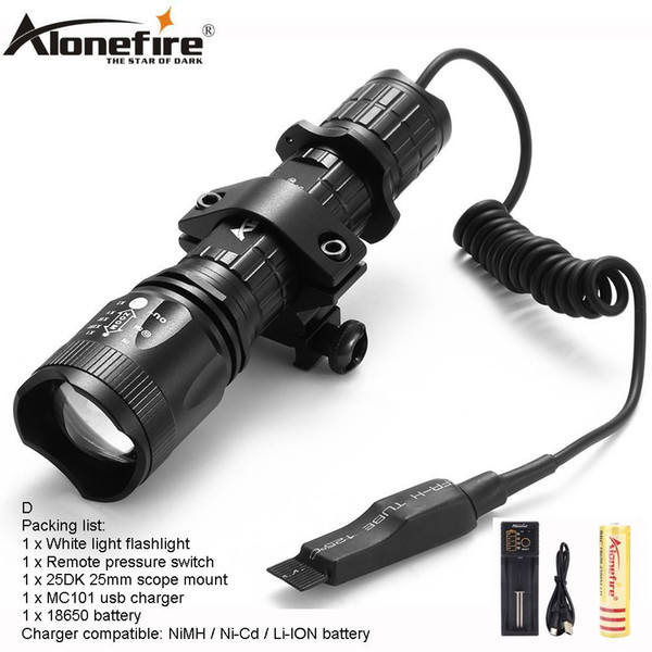 AloneFire TK400 Tactical light cree xml L2 led hunting flashlight zoom torch Mount Pressure Switch for Hunting 1 x 18650 battery