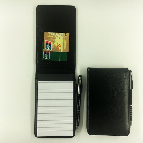 Black A7 notebook with pen