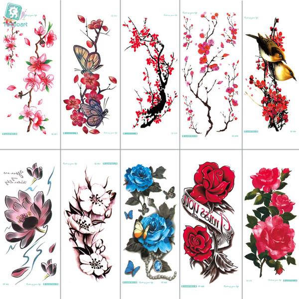 Rocooart QC651-677 20X10cm Tatouages colorés manches de tatouage Body Art Fleurs Série Tatouage Temporaire Autocollant Taty