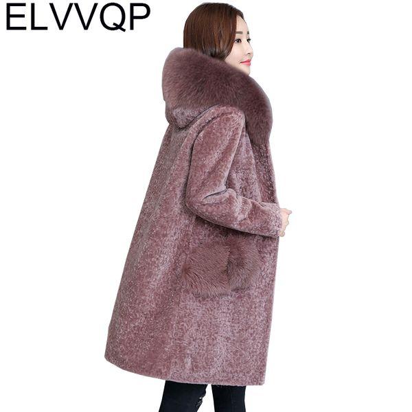 2018 New Winter Sheep shearing Faux Fox Fur Coats Plus Size Hooded Outerwear Women's Thick warm Long Fur Outwears Jackets