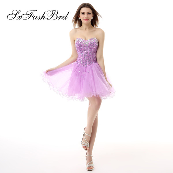 Bling Crystals Sweetheart A Line Mini Short Purple Tulle Party Formal Evening Dresses Women Simple Short Prom Dress