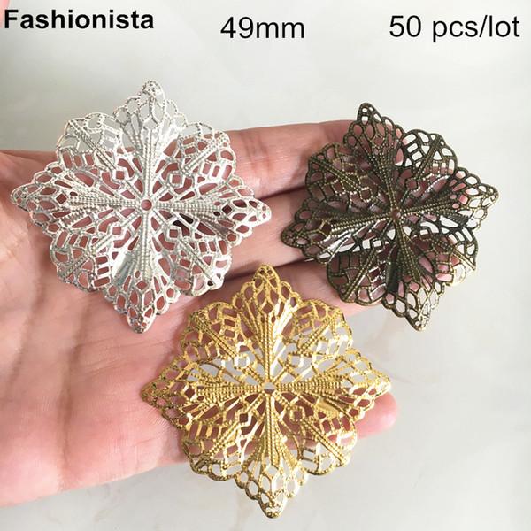 50 pcs grandes fleurs en filigrane 49mm, fleurs en métal pour ornement, couleur or, couleur argentée, bronze, bricolage bijoux artisanat fournitures