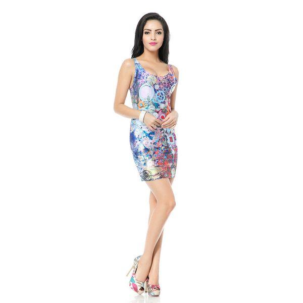 Wholesale Free Shipping 3D Cartoon Print Stretch Sheath Women Elegant Party    OL Mini Vestidos Slim Dress 0ac9a2a3c