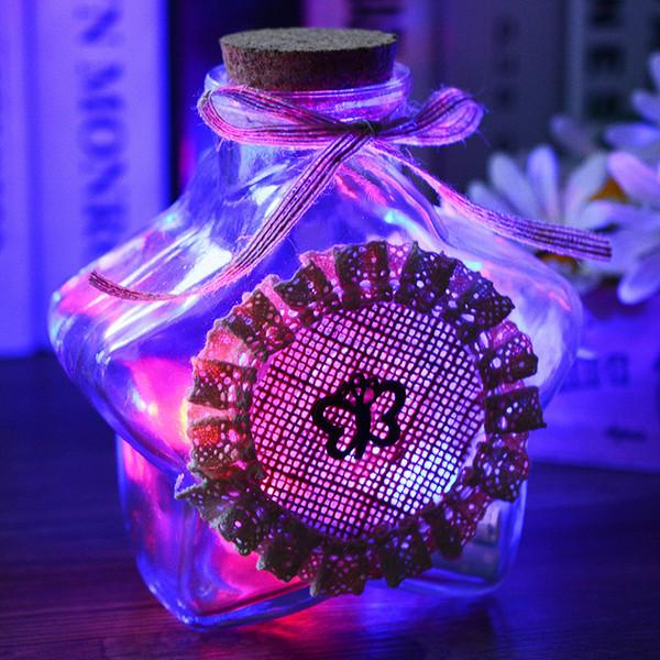 LED Dekorative Sternförmige Glas Transparent Handgemachte Phiolen, Die Flaschen Mit Korken Für Hauptdekoration Souvenir Liebhaber Geschenk H207