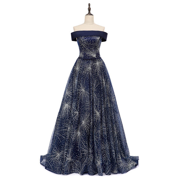 Fashion 2019 Sexy Off Shoulder Women Evening Gowns Shining Luxury Princess Star Embroidery Court Train Lace Up Vestido de Fiesta Sash Bow