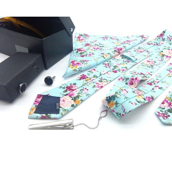 Mens Cotton Tie Set Shirt Suit Skinny Floral Striped Slim Handkerchief Cufflink Tie Clip Pocket for Wedding Party Show In a Luxurg Gift Box
